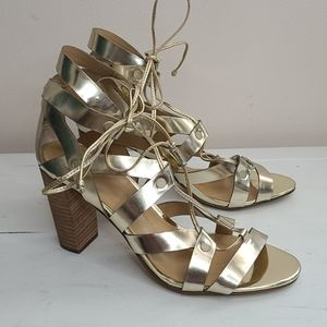 Banana Republic gold strappy heeled sandals